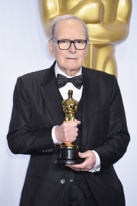 HOLLYWOOD, CA - FEBRUARY 28: Composer Ennio Morricone, winner of the Best Original Score award for ''The Hateful Eight,' poses in the press room during the 88th Annual Academy Awards at Loews Hollywood Hotel on February 28, 2016 in Hollywood, California. (Photo by Jeff Kravitz/FilmMagic)